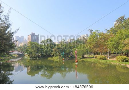 KAOHSIUNG TAIWAN - DECEMBER 13, 2016: Central Park. Central park is located in the middle of downtown Kaohsiung.