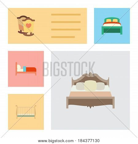 Flat Bed Set Of Cot, Furniture, Bedroom And Other Vector Objects. Also Includes Child, Furniture, Cot Elements.