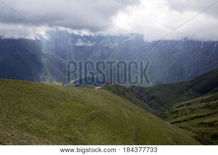 Caucasus mountains in Kazbegi in the Republic of Georgia