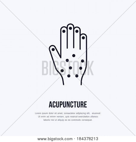 Acupuncture flat line icon, logo. Vector illustration of hand for traditional treatment, alternative medicine center.