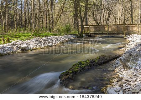 A creek in the woods during spring with a footbridge.