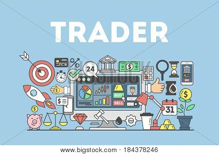 Trader concept illustration. Signs and icons on blue background.