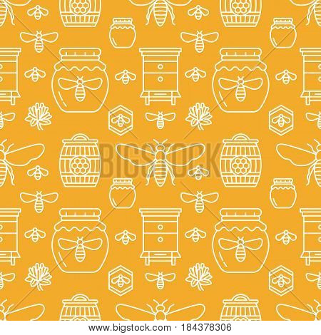 Beekeeping seamless pattern orange color, apiculture vector illustration. Apiary thin line icons bee, beehive, honeycomb, barrel. Cute repeated texture for honey processing business.