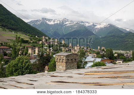 View from a roof to Mestia village in Svaneti area Caucasus mountains in Georgia