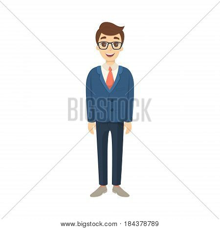 Isolated businessman standing on white background. Cute character in buisness suit.