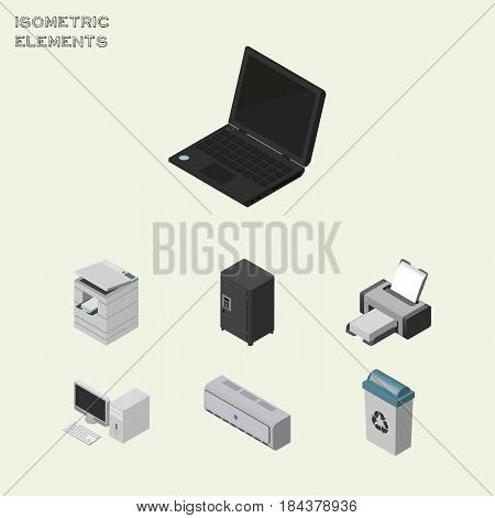Isometric Cabinet Set Of Garbage Container, Laptop, Strongbox And Other Vector Objects. Also Includes Locked, Conditioner, Strongbox Elements.