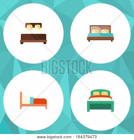 Flat  Set Of Furniture, Bearings, Mattress And Other Vector Objects. Also Includes Double, Bedroom, Bedding Elements.