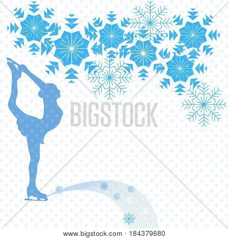 Ice skater on a white background and snowflakes