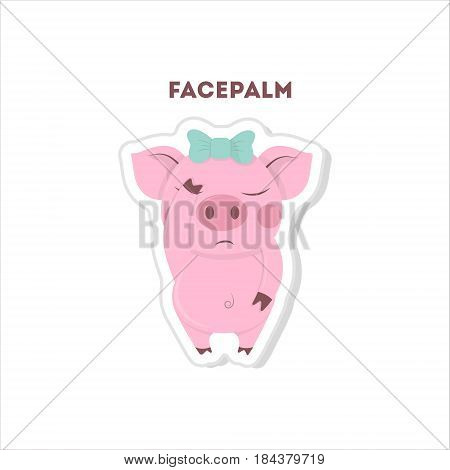 Cute facepalm pig. Isolated emoji on white background.