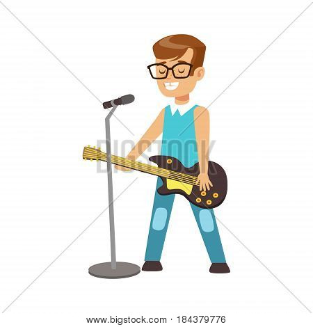 Young smiling boy playing guitar and singing with microphone. Cute talented young boy playing and singing on musical instrument, music lesson. Colorful character vector Illustration isolated on a white background