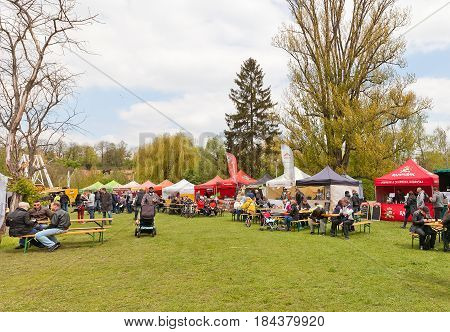 PRAGUE CZECH REPUBLIC - MAY 01 2017: Festival of microbreweries Prvni Pivni Maj took place 1st of May in Prague near Brevnov Monastery. 20 Czech and Moravian mini breweries were presented