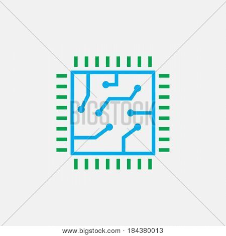 Chip Line Icon, Cpu Color Outline Vector Illustration, Linear Pictogram Isolated On White