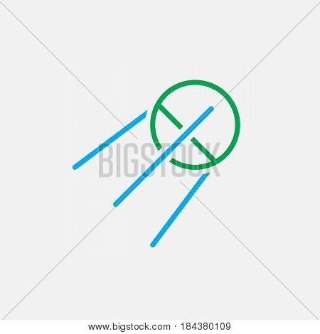 Satellite Line Icon, Sputnik Color Outline Vector Illustration, Linear Pictogram Isolated On White