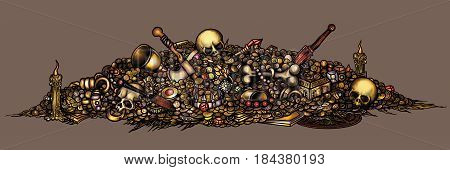 Illustration pile of treasure with coins gold jewelry gems artifacts skulls weapons