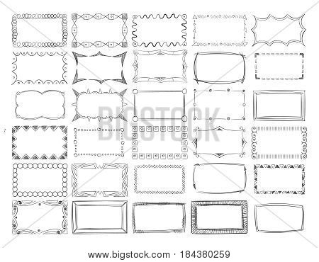 Hand drawn vector line photo frame borders set. Frame border rectangle, illustration of museum classical frames
