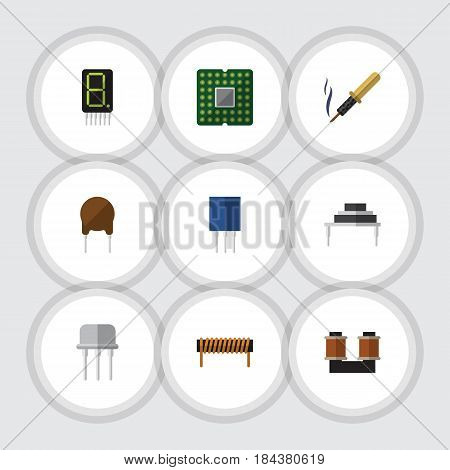 Flat Technology Set Of Unit, Destination, Coil Copper And Other Vector Objects. Also Includes Coil, Receptacle, Processor Elements.
