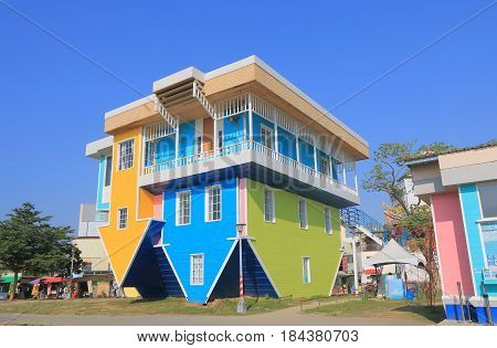 KAOHSIUNG TAIWAN - DECEMBER 13, 2016: Upside down house Pier 2 Art Center Pier 2 Art Center was originally an abandoned warehouse site converted to the art centre.
