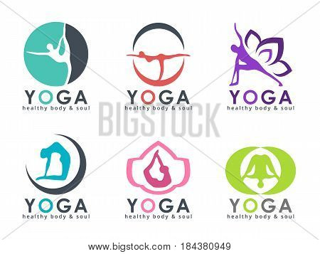 Yoga logo with abstract human playing yoga posture vector set design