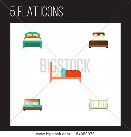 Flat Bedroom Set Of Bearings, Furniture, Mattress And Other Vector Objects. Also Includes Double, Cot, Bearings Elements.