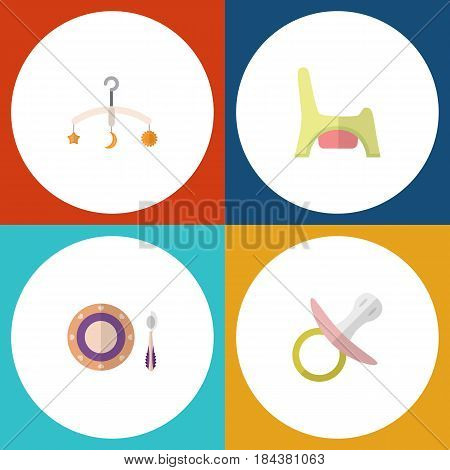 Flat Baby Set Of Toilet, Nipple, Mobile And Other Vector Objects. Also Includes Baby, Mobile, Soothers Elements.