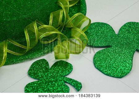 St Patricks Day leprechaun hat with shamrock on white background
