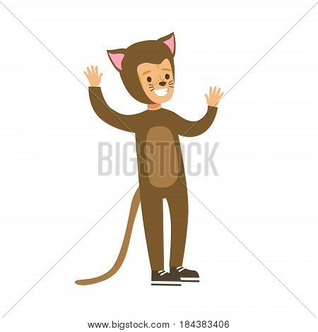 Child dressed as a cat with with cat makeup, performing in theatrical show. Happy kid showing his artistic talent in fairytale performance. Colorful cartoon character vector Illustration isolated on a white background