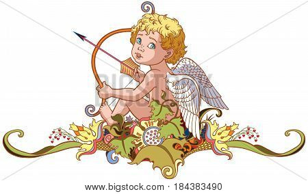 cartoon little angel cupid sitting on floral ornament and holding a bow with arrow