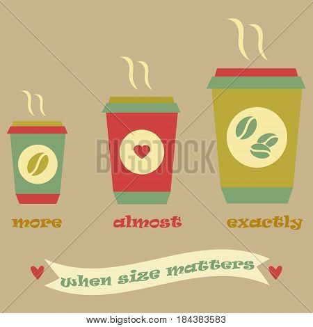 Vintage poster with three coffee cups and ribbon