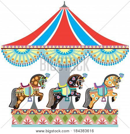 cartoon circus roundabout carousel with decorated horses. Vector illustration isolated on white