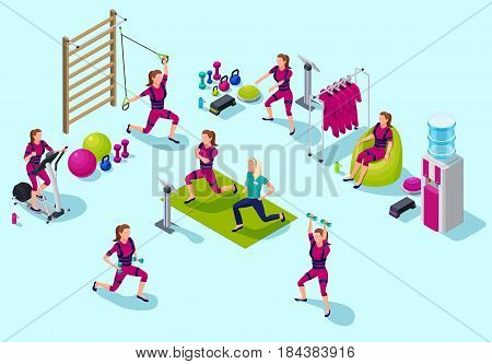 Isometric infographic ems fitness  studio with people doing electrical muscular workout including cardio, suspension, power exercises and sports equipment. Vector illustration