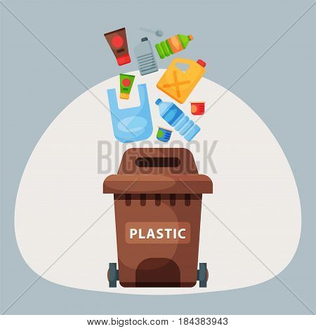 Recycling garbage plastic elements trash bags tires management industry utilize concept and waste ecology can bottle recycling disposal box vector illustration. Eco pollution refuse service plastic.