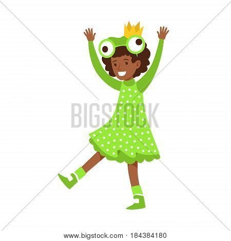 Cute little girl dressed as a frog, performing in theatrical show. Happy girl showing his artistic talent in fairytale performance. Colorful cartoon character vector Illustration isolated on a white background