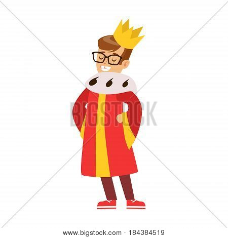 Cute little boy dressed as a king, performing in theatrical show. Happy kid showing his artistic talent in fairytale performance. Colorful cartoon character vector Illustration isolated on a white background