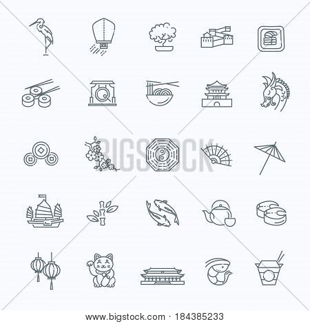 Vector icon set representing Japan travel destinations