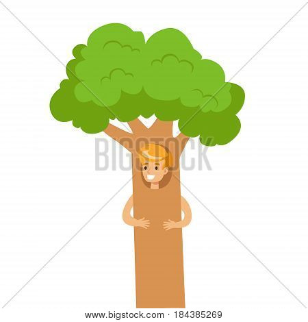 Cute little boy dressed as a green tree, performing in theatrical show. Happy kid showing his artistic talent in in fairytale performance. Colorful cartoon character vector Illustration isolated on a white background