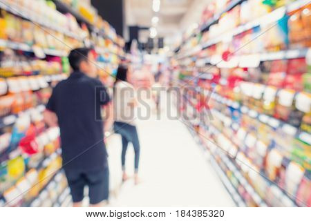 Shopping in supermarket store., Business concept, Blurred scene.
