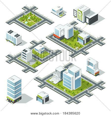 Isometric city 3d vector illustration with office buildings, skyscrapers. Trees and bushes on the street. Model of urban areas with buildings. City 3d buildings design