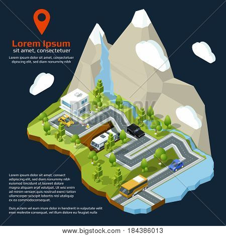 Vector isometric street. Urban elements on 3d map. Different houses set and roads. City isometric map, illustration of town street map
