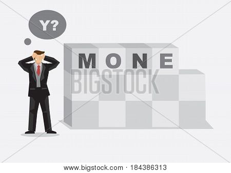 Cartoon businessman finds missing letter in alphabet building blocks read MONEY. Creative vector illustration for word play on losing money metaphor.