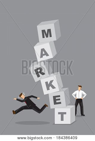 Stack of alphabet letter blocks forming word Market going to crash down onto businessman. Creative cartoon vector illustration for stock market crash business metaphor.