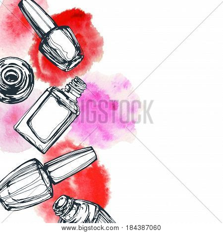 Nail polish vector sketch in fashion style on white background. Cosmetics and fashion background Template Vector.