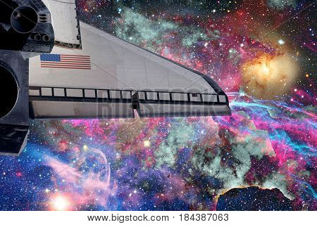 Space Shuttle Over Galaxy And Space Nebula.