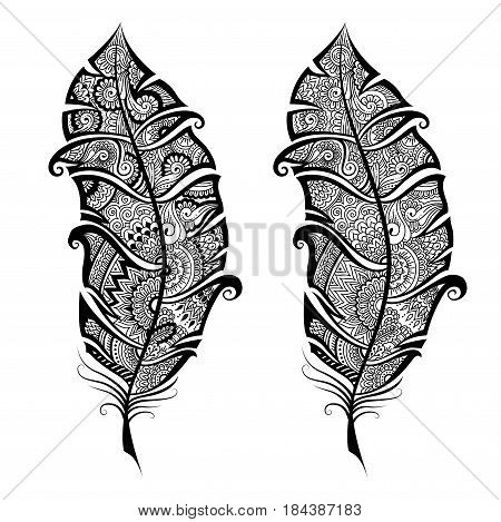 Artistically hand drawn, stylized in zen tangle, vector feather on a white background. Vintage tribal feather. Illustration for coloring page for adult.