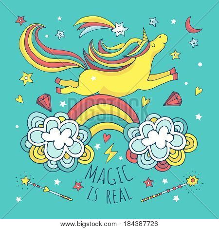 Magic vector background, poster with unicorn and rainbow. Banner with unicorn cartoon, illustration of funny unicorn animal