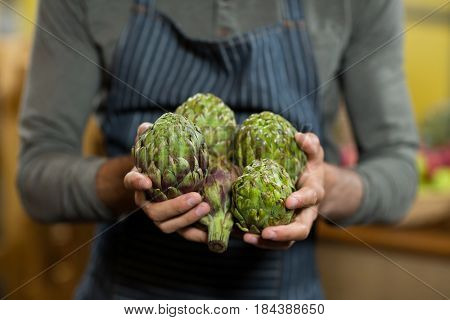 Mid-section of a vendor holding custard apples at the grocery store