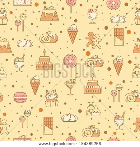 Sweet seamless pattern with cupcakes, candy, lollipop and other bakery foods. Vector illustration. Pattern with assortment sweet nutrition, bake and cake, taste and sweet cupcake