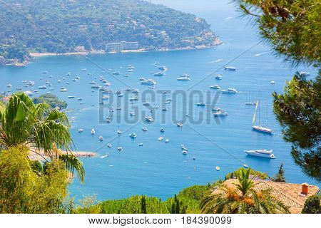 Beautiful Top View of bay Cote d'Azur. Luxury resort Villefranche-sur-Mer on French Riviera at Mediterranean Sea. Amazing Landscape. Europe. France.