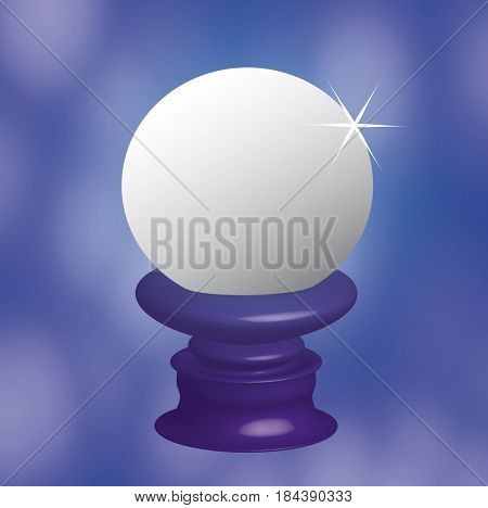 Illustration creative blue background with round white object
