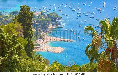 Beautiful Top View of bay Cote d'Azur. Luxury resort Villefranche-sur-Mer on French Riviera at Mediterranean Sea. Amazing Landscape Alpes-Maritimes. Europe. France.
