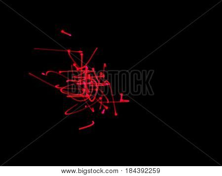 Abstract shape of motion particles. Isolated on black background. Luminance effect. Digital illustration.